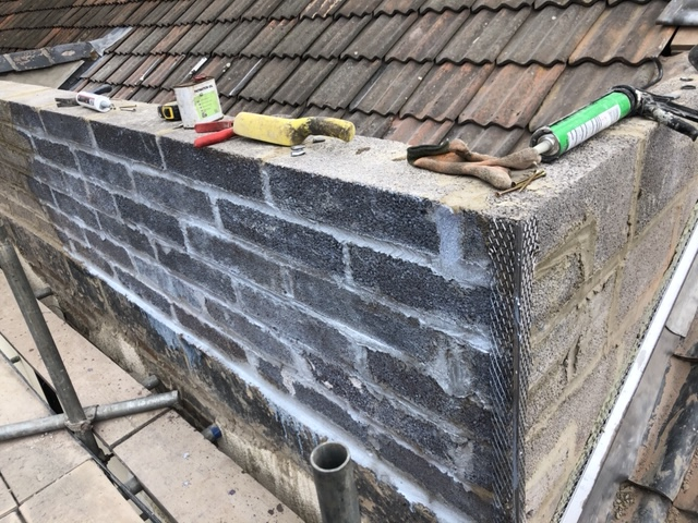 Parapet wall rebuild in Bridgwater all blocked back up