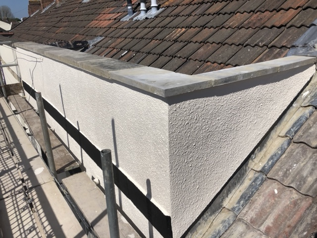 Finished parapet wall in Bridgwater painted with 2 coats of Dulux paint