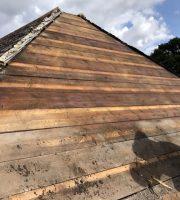 Timbers sprayed with Cuprinol
