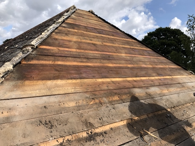 Re-roof in yeovil, timbers exposed, sprayed with 5 star cuprinol to prevent dry rot and woodworm
