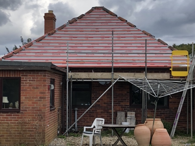 Re-roof in Yeovil, showing our DuPont Tyvek breathable membrane which we use on all our roofs